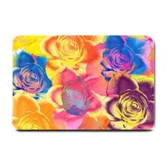 Pop Art Roses Small Doormat  by DanaeStudio
