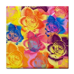 Pop Art Roses Face Towel