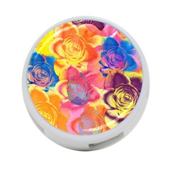 Pop Art Roses 4-Port USB Hub (One Side)