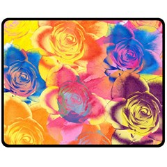 Pop Art Roses Fleece Blanket (Medium)