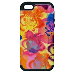 Pop Art Roses Apple Iphone 5 Hardshell Case (pc+silicone) by DanaeStudio