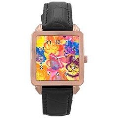 Pop Art Roses Rose Gold Leather Watch