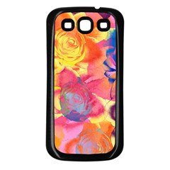 Pop Art Roses Samsung Galaxy S3 Back Case (black) by DanaeStudio