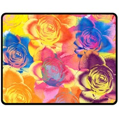 Pop Art Roses Double Sided Fleece Blanket (Medium)