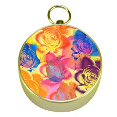 Pop Art Roses Gold Compasses by DanaeStudio