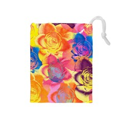 Pop Art Roses Drawstring Pouches (medium)  by DanaeStudio