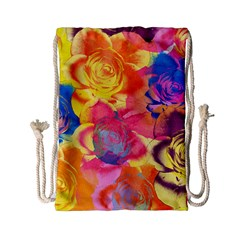 Pop Art Roses Drawstring Bag (small) by DanaeStudio