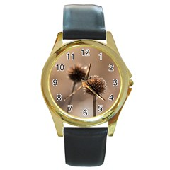 2  Verwelkte Kugeldistel Round Gold Metal Watch by wsfcow