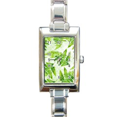 Fern Leaves Rectangle Italian Charm Watch by DanaeStudio
