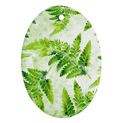 Fern Leaves Oval Ornament (two Sides) by DanaeStudio