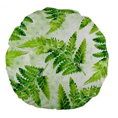 Fern Leaves Large 18  Premium Round Cushions by DanaeStudio