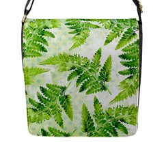 Fern Leaves Flap Messenger Bag (l)  by DanaeStudio