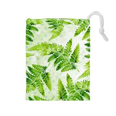 Fern Leaves Drawstring Pouches (large)  by DanaeStudio