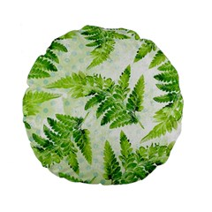 Fern Leaves Standard 15  Premium Flano Round Cushions by DanaeStudio