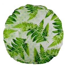 Fern Leaves Large 18  Premium Flano Round Cushions by DanaeStudio