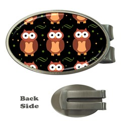 Halloween brown owls  Money Clips (Oval)