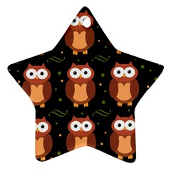 Halloween Brown Owls  Star Ornament (two Sides)  by Valentinaart