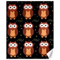 Halloween Brown Owls  Canvas 16  X 20   by Valentinaart