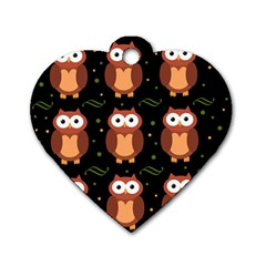 Halloween brown owls  Dog Tag Heart (Two Sides)