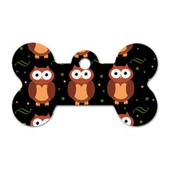 Halloween brown owls  Dog Tag Bone (Two Sides)