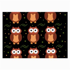 Halloween Brown Owls  Large Glasses Cloth by Valentinaart