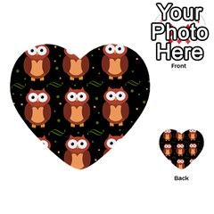 Halloween Brown Owls  Multi Purpose Cards (heart)  by Valentinaart
