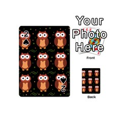 Halloween Brown Owls  Playing Cards 54 (mini)  by Valentinaart