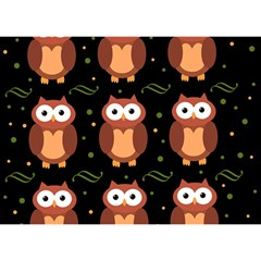 Halloween Brown Owls  Birthday Cake 3d Greeting Card (7x5) by Valentinaart