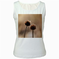 Withered Globe Thistle In Autumn Macro Women s White Tank Top by wsfcow