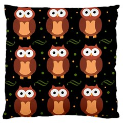 Halloween Brown Owls  Large Cushion Case (two Sides) by Valentinaart
