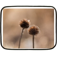 Withered Globe Thistle In Autumn Macro Fleece Blanket (mini) by wsfcow