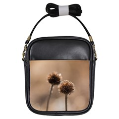 Withered Globe Thistle In Autumn Macro Girls Sling Bags by wsfcow