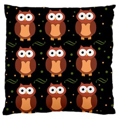Halloween Brown Owls  Large Flano Cushion Case (two Sides) by Valentinaart