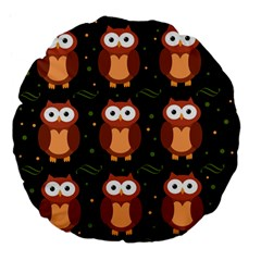 Halloween brown owls  Large 18  Premium Flano Round Cushions