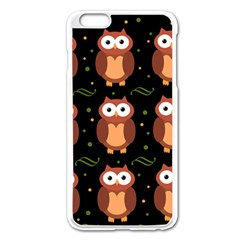 Halloween Brown Owls  Apple Iphone 6 Plus/6s Plus Enamel White Case by Valentinaart
