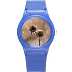 Withered Globe Thistle In Autumn Macro Round Plastic Sport Watch (S) Front