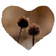 Withered Globe Thistle In Autumn Macro Large 19  Premium Heart Shape Cushions by wsfcow