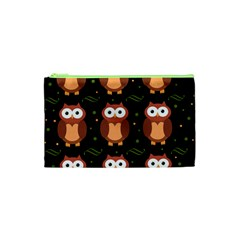 Halloween Brown Owls  Cosmetic Bag (xs) by Valentinaart
