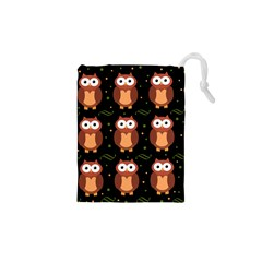 Halloween brown owls  Drawstring Pouches (XS)