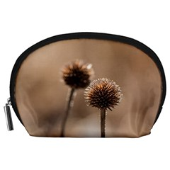 Withered Globe Thistle In Autumn Macro Accessory Pouches (large)  by wsfcow