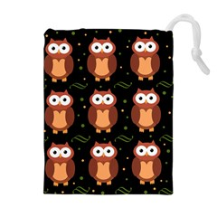 Halloween brown owls  Drawstring Pouches (Extra Large)