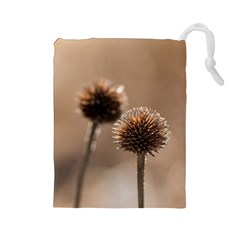 Withered Globe Thistle In Autumn Macro Drawstring Pouches (large)  by wsfcow