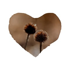 Withered Globe Thistle In Autumn Macro Standard 16  Premium Flano Heart Shape Cushions by wsfcow