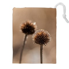Withered Globe Thistle In Autumn Macro Drawstring Pouches (xxl) by wsfcow