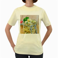 Potato salad in a jar on wooden Women s Yellow T-Shirt
