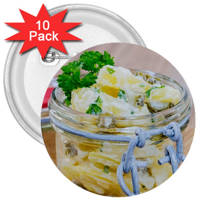 Potato salad in a jar on wooden 3  Buttons (10 pack)