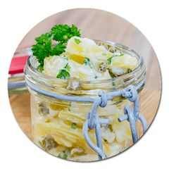 Potato salad in a jar on wooden Magnet 5  (Round)