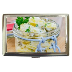 Potato salad in a jar on wooden Cigarette Money Cases