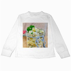 Potato salad in a jar on wooden Kids Long Sleeve T-Shirts