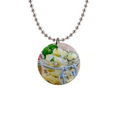 Potato salad in a jar on wooden Button Necklaces